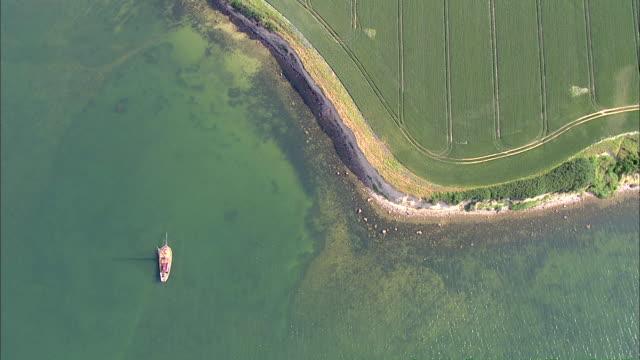 WS AERIAL DS View of sail boat in sea / RuegenGreifswaldLubmin, Mecklenburg-Vorpommern, Germany