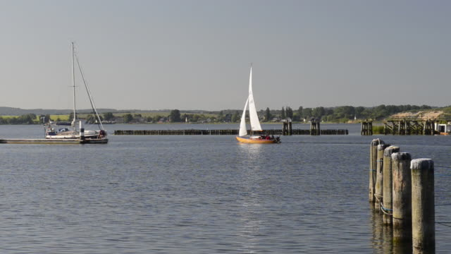 WS View of Sailing boat is sailing at Baltic sea / Rugen Island, Mecklenburg-Western Pomerania, Germany
