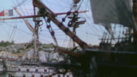MS View of Sails of clipper ship