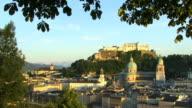 HA, WS, View of Salzburg with Festung Hohensalzburg (Salzburg Fortress) in distance, Austria