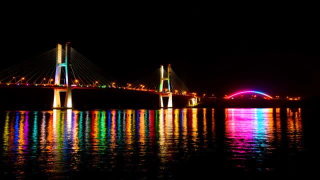 WS T/L View of Samcheonpodaegyo bridge and Changseondaegyo bridge at night / Sacheon, Gyeongsangnam-do, South Korea