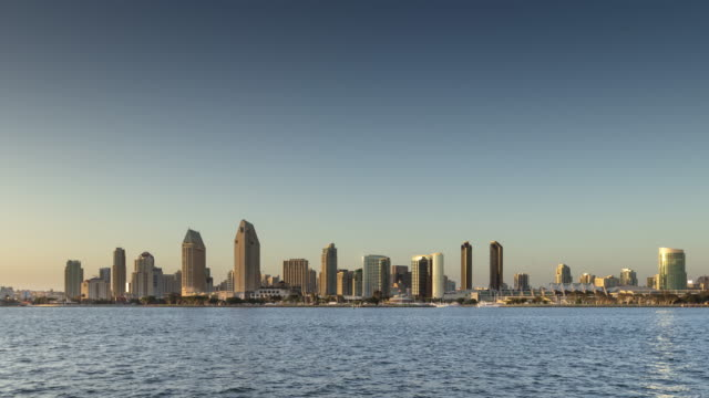 View of San Diego Skyline Across the Bay by Day - Time Lapse