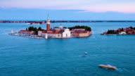 T/L HA View of San Giorgio Maggiore Island from St. Mark's Campanile / Venice, Italy