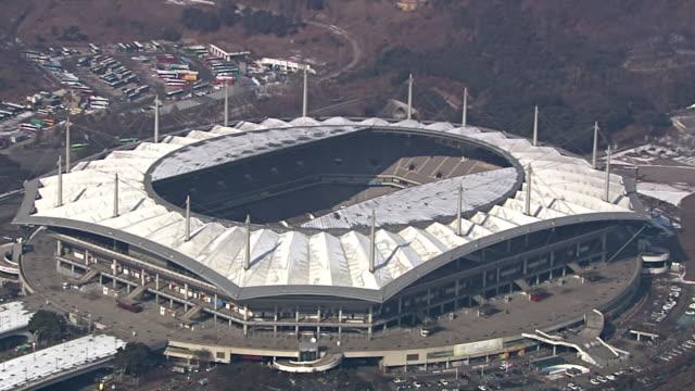 WS AERIAL View of Sangam Worldcup Stadium / Seoul, South Korea