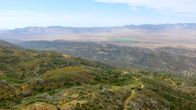 WS AERIAL POV View of Santa Clarita Valley with Antelope Valley in background / Los Angeles County, California, United States