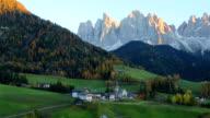 View of Santa Maddalena village church, Val di Funes, Dolomiti Mountains, Italy