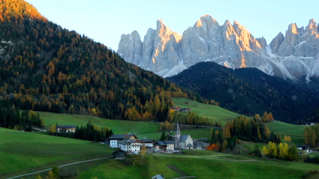 View of Santa Maddalena village church, Val di Funes, Dolomiti Mountains, Italy