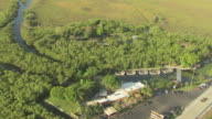 WS AERIAL View of sawgrass prairies and airboats / Florida, United States