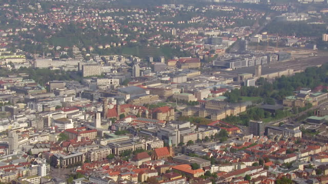 WS AERIAL View of Schlossplatz and Central Station / Stuttgart, Baden Wurttemberg