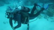 MS View of Scuba Diver, Cocos Islands / Keeling, Shire of Cocos, Australia