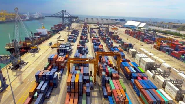 AERIAL View of Sea Port transportation at Harbor