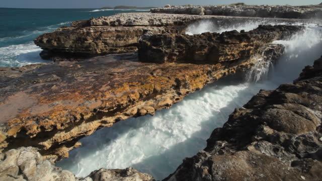 WS View of sea waves crashing at devils bridge / Devils Bridge, Antigua and Barbuda