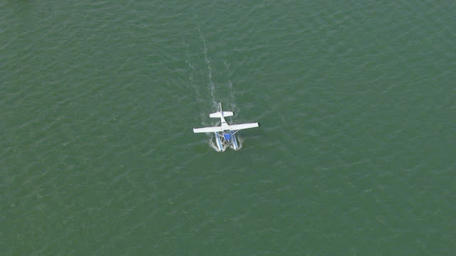 WS AERIAL View of seaplane in ocean / Kings Cliff, New South Wales, Australia