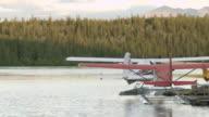 WS TS View of Seaplane taking off at Coghlan Lake / Yukon, Canada