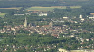 MS AERIAL View of Senlis with farmland in town / Picardy, France