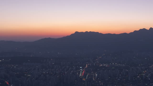 WS T/L ZO View of Seoul Nowon gu residential area at night / Seoul, South Korea