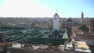 WS View of several buildings with green tops in city / Fes, Centro-North, Morocco