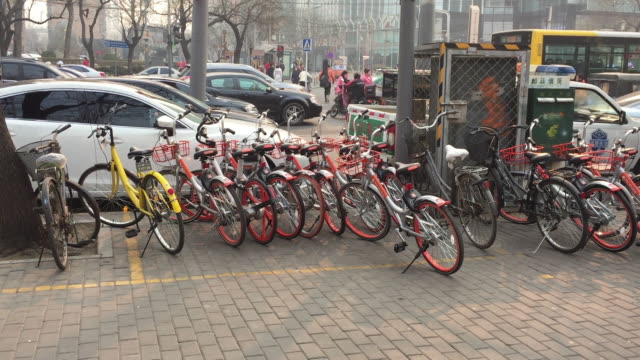 A view of shared bikes on the street on Feb 14 2017 in Beijing China