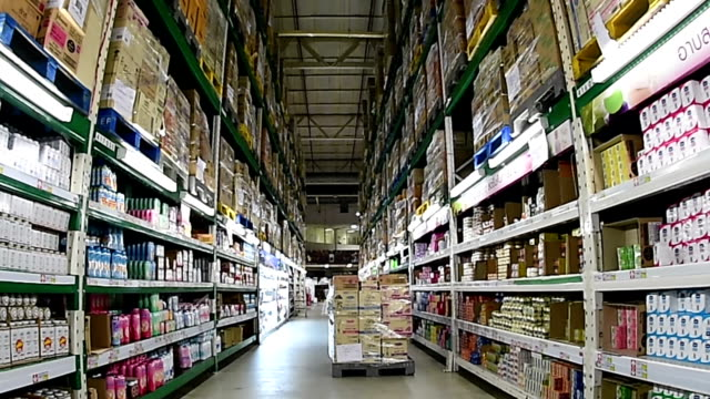 View of shelves in supermarket