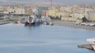 WS PAN View of ship at Malaga port / Malaga, Andalusia, Spain