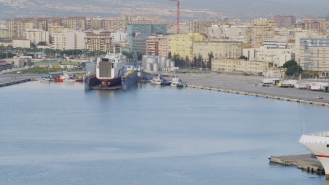 WS PAN View of ship at Malaga port / Malaga, Andalusia, Spain