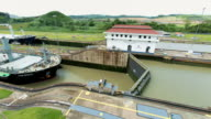 WS T/L View of ships crossing from pacific to Atlantic through miraflores locks / Panama