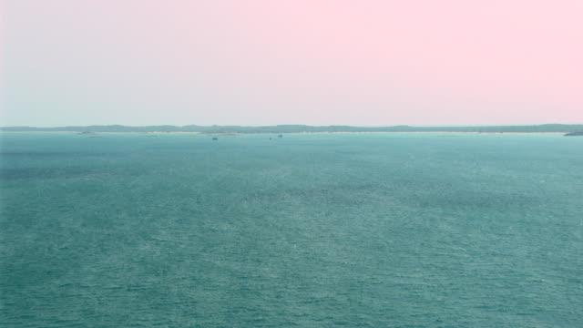 WS AERIAL ZI View of ships in ocean / Darwin, Northern Territory, Australia