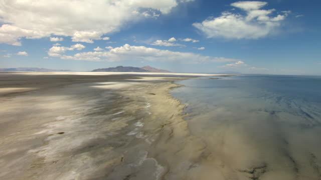 WS AERIAL View of shore of Great Salt lake / Utah, United States