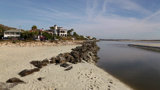 MS View of Shoreline of beach / St. Simon's Island, Georgia, United States