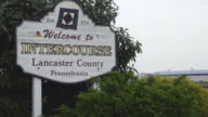 MS View of sign board at Lancaster area in city / Intercourse, Pennsylvania, United States