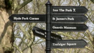 MS View of signs at st. james park / London, England, Great Britain