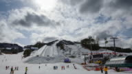 WS T/L View of Ski resort at Pyeongchang ( host 2018 Winter Olympics and 2018 Winter Paralympics ) / Pyeongchang, Gangwondo, South Korea