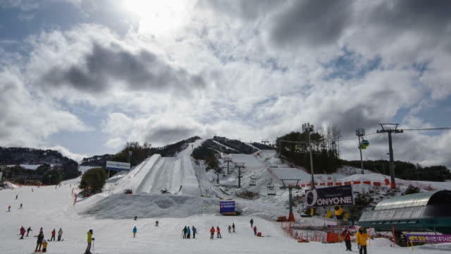 WS T/L View of Ski resort at Pyeongchang ( host 2018 Winter Olympics and 2018 Winter Paralympics ) / Pyeongchang, Gangwondo, South Korea