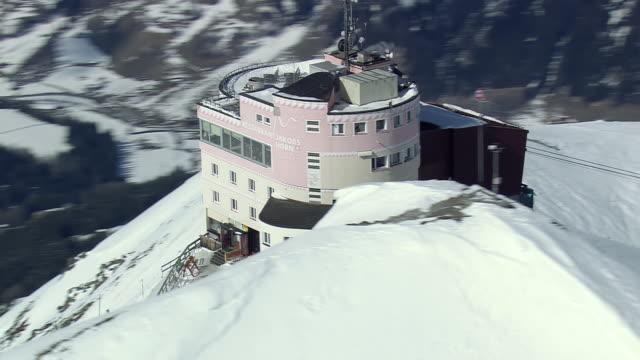 WS AERIAL DS View of Ski restaurant / Switzerland