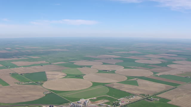 WS AERIAL TD View of sky to reveal town northwest of Alliance / Alliance, Nebraska, United States