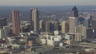 WS AERIAL View of skyscraper in Atlanta city / Georgia, United States