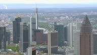 WS AERIAL View of skyscrapers and Messeturm / Frankfurt Main, Hesse, Germany