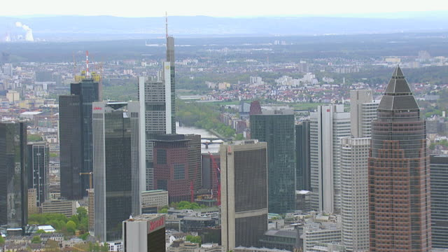 WS AERIAL View of skyscrapers and Messeturm / Frankfurt Main, Hesse, Germany