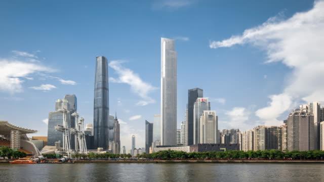 T/L WS PAN View of Skyscrapers in Zhujiang New Town / Guangzhou, China
