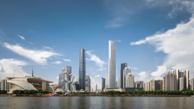 T/L WS View of Skyscrapers in Zhujiang New Town / Guangzhou, China