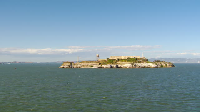 EWS DS AERIAL View of Slight rotation in Alcatraz Island and prison complex / San Francisco, California, United States