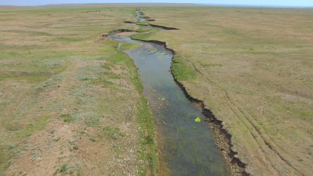WS AERIAL TD View of Small creek in Natrona County / Wyoming, United States