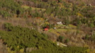MS AERIAL ZO View of small houses in ripton town / Vermont, United States
