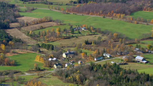 WS ARIEAL View of Small town with fields / New Hampshire, United States