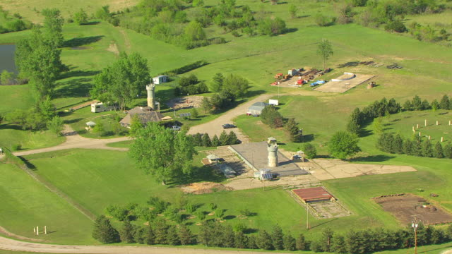 MS AERIAL ZI DS View of small village in Wabaunsee County / Kansas, United States