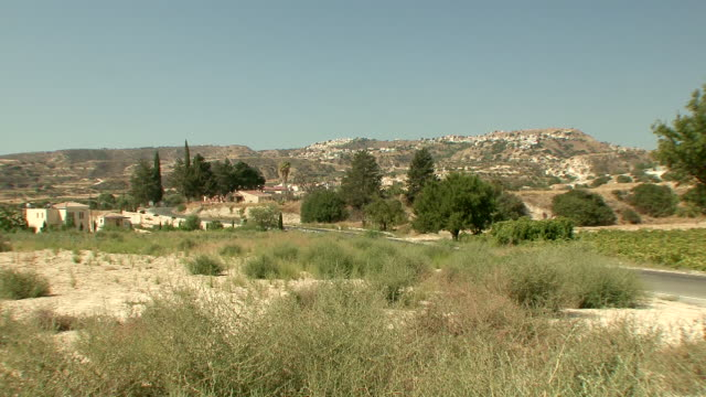 WS View of small village on top of mountain in countryside / Trodos, Cyprus