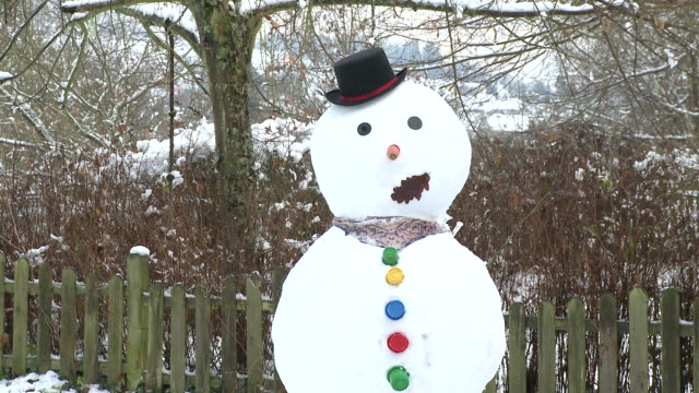 MS View of snowman / Saarburg, Rhineland-Palatinate, Germany