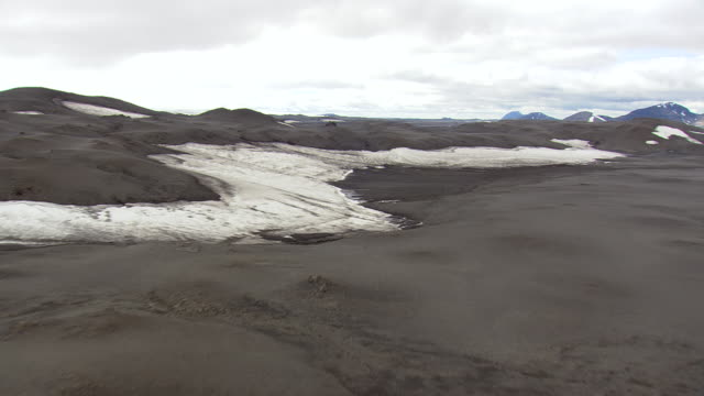 WS AERIAL View of snowy lava plain mountain / Iceland