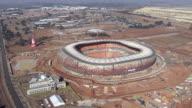 WS AERIAL DS View of soccer city stadium / Johannesburg, Gauteng, South Africa