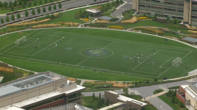 WS AERIAL ZO View of soccer field at reveal Microsoft campus / Redmond, Washington, United States